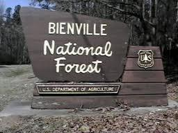 A photo of a forest sign in Bienville National Forest.