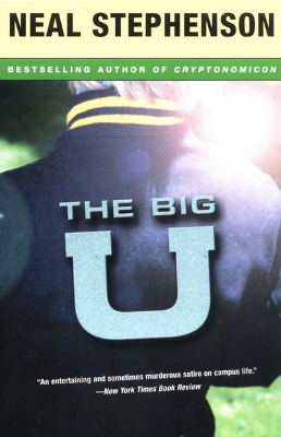 A blue letterman jacket shown from the back with a large letter U emblazoned on it.