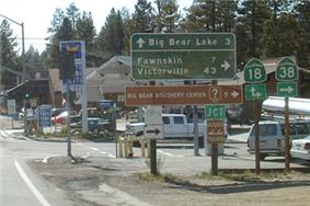 Looking west at corner of Big Bear Boulevard and Greenway in Big Bear City. This is where Highways 18 and 38 cross over.