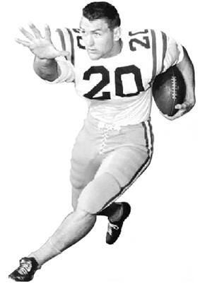 A football player wearing light colored uniform with the number 20 on it.