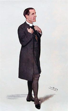Drawing of a dark-haired man, facing right, dressed in long black coat, black stockings and white collar. He is grasping his lapels as if about to speak.