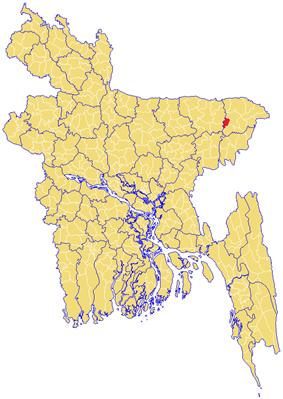 Location of Bishwanath  বিশ্বনাথ