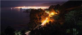 Skyline of Bislig City at night taken at the Ocean View Park
