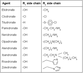 side chains of bisphosphonate molecules