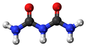 Ball-and-stick model of the biuret molecule