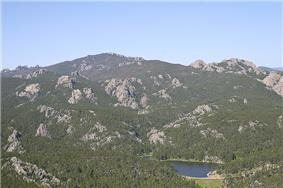 A photo of the Black Hills in the Black Elk Wilderness with Horsethief Lake.