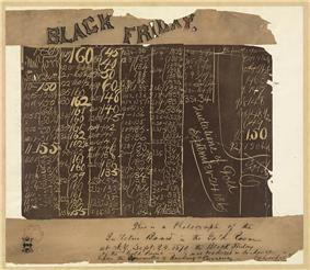A blackboard with columns of numbers. Across the top is a banner that says