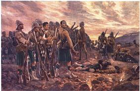 Painting of a rugged group of soldiers gathering their dead and wounded