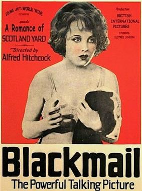 An advertisement for the movie Blackmail featuring a young woman in lingerie holding a garment over one arm looks toward camera. Surrounding text describes the film as