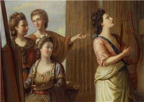 Detail from a painting, showing four women dressed in classical-inspired costumes in front of a pillar.