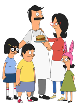 A family consisting of a mother, a father holding a hamburger, a boy, and two girls.