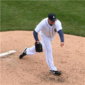 Bobby Seay on the pitchers' mound, in his follow through motion after throwing a pitch for the Detroit Tigers.
