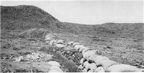 Contemporary photograph looking down a Boer trench located at the foot of a hill