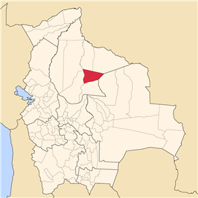 Map of Bolivia highlighting the province of Cercado.