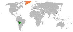 Map indicating locations of Bolivia and Denmark