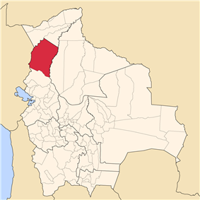 Location of Abel Iturralde Province within Bolivia