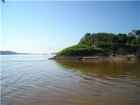 On the border between Brazil and Bolivia. The Madeira River is on the left, the Abunã River on the right.