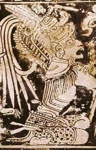 Vase illustration in which the god Bolon Yukte is seen in profile, kneeling with his head back and his mouth open. He wears an elaborate feather headdress.