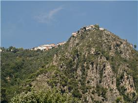 The village of Bonson, perched on the hillside and seen from the Var valley
