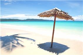 View of white sand beaches of Boracay.