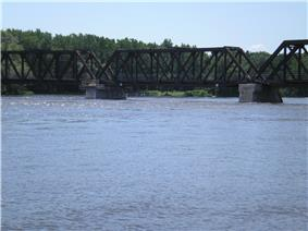 A typical railway truss bridge.