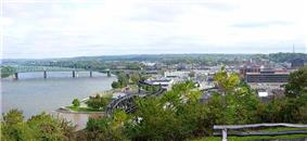 Downtown Parkersburg as viewed from Fort Boreman Historical Park in 2006