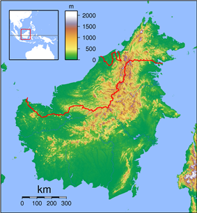 Putatan is located in Borneo Topography