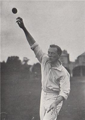 A cricketer about to bowl.