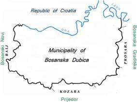 Municipality of Dubica marked blue