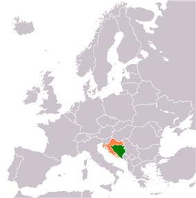 Map indicating locations of Bosnia and Herzegovina and Croatia