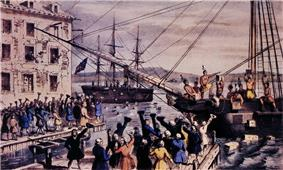 Two ships in a harbor, one in the distance. On board, men stripped to the waist and wearing feathers in their hair are throwing crates into the water. A large crowd, mostly men, is standing on the dock, waving hats and cheering. A few people wave their hats from windows in a nearby building.