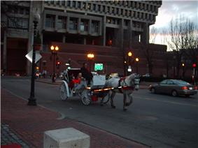 Horse-drawn carriage at dusk on a city street