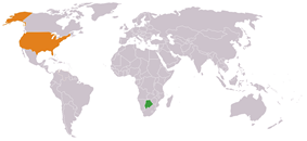 Map indicating locations of Botswana and USA