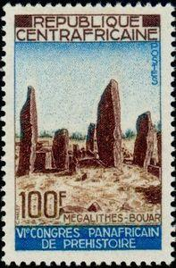 The Bouar Megaliths on a 1967 Central African stamp