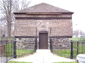 A picture of the Fort Pitt blockhouse built in 1764 and the oldest extant structure in Pittsburgh