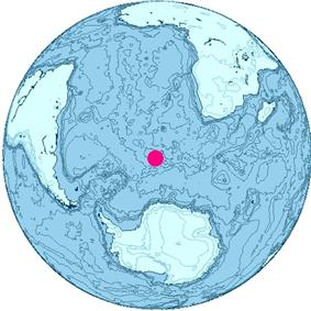 Orthographic projection of the world centered on Bouvet Island.