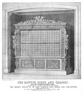 Print of a multivolume work in a decorative cabinet.