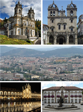 From left to right: Bom Jesus do Monte, Braga Cathedral, Braga Baixa, Republic Square, Municipal Palace