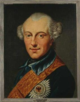 Painting of an almost-smiling man with a prominent widow's peak and his hair curled over the ears in late 1700s style. He wears a dark blue military uniform with a red sash and a large award on the breast of his coat.