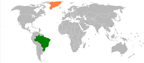 Map indicating locations of Brazil and Denmark