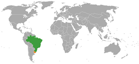 Map indicating locations of Brazil and Uruguay