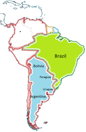 map of South America with the Viceroyalty of the Río de la Plata indicated in blue, the area of which incorporated portions of present-day Argentina, Uruguay, Brazil, Paraguay, Bolivia and Chile