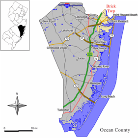 Map of Brick Township in Ocean County. Inset: Location of Ocean County highlighted in the State of New Jersey.