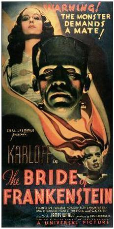 Movie poster with the head of Frankenstein's monster at the center, looking forward with a somber expression. Elevated above him is a woman looking down towards the center of the image. Near the bottom of the image is the Bride of Frankenstein, looking off to the right of the image as her hair surrounds the head of Frankenstein's monster and the body of the woman. Text at the top of the image states