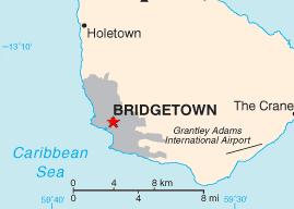 Location of Bridgetown (red star)