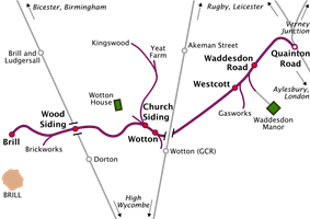 Map of a railway line running roughly southwest to northeast. Long sidings run off the railway line at various places. Two other north-south railway lines cross the line, but do not connect with it. At the northeastern terminus of the line, marked