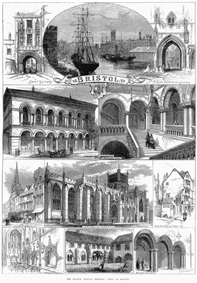 An engraving showing at the top a sailing ship and paddle steamer in a harbour, with sheds and a church spire. On either side arched gateways, all above a scroll with the word