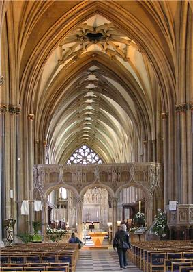 The interior of Bristol Cathedral shows the unusual pattern of the vaulting.