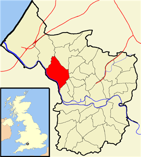 Map showing Stoke Bishop ward to the north west of the city centre