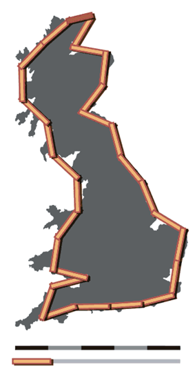 Coastline of Britain measured using a 100 km scale
